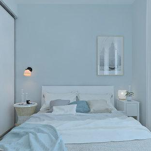 Ispirazione per una piccola camera padronale scandinava con pareti blu e pavimento in laminato