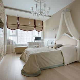На фото: спальня в стиле современная классика с бежевыми стенами, светлым паркетным полом и бежевым полом без камина