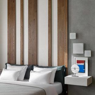 Ejemplo de dormitorio madera, actual, madera, con paredes multicolor y madera