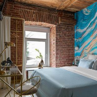 Идея дизайна: спальня в стиле лофт с разноцветными стенами и серым полом