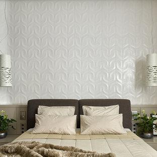 Immagine di una camera matrimoniale minimal con pareti bianche