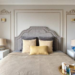 Стильный дизайн: спальня в стиле современная классика с серыми стенами - последний тренд