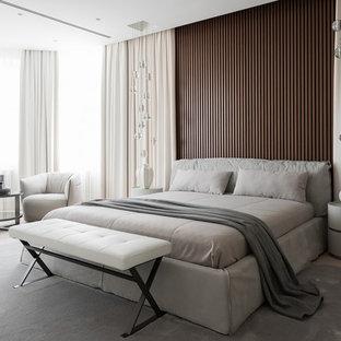 Удачное сочетание для дизайна помещения: спальня в современном стиле с светлым паркетным полом и бежевым полом - самое интересное для вас