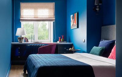 Houzz тур: Двушка 45 кв. м с ягодной прихожей и синей спальней