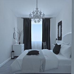Diseño de dormitorio principal, nórdico, de tamaño medio, con paredes rosas, suelo de baldosas de porcelana y suelo gris