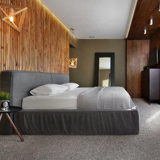 Свежая идея для дизайна: хозяйская спальня в современном стиле с коричневыми стенами, ковровым покрытием и серым полом - отличное фото интерьера
