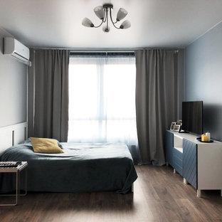 Imagen de dormitorio principal, escandinavo, de tamaño medio, sin chimenea, con paredes grises, suelo laminado y suelo marrón