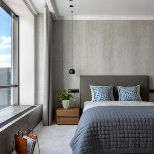 Идея дизайна: хозяйская спальня среднего размера в современном стиле с серыми стенами, ковровым покрытием и серым полом