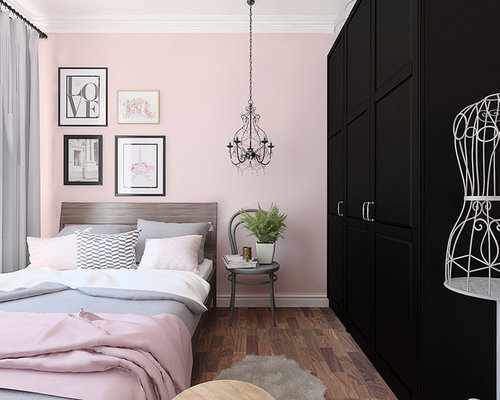skandinavische schlafzimmer mit rosa wandfarbe ideen. Black Bedroom Furniture Sets. Home Design Ideas
