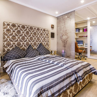 Inspiration for a large contemporary master light wood floor bedroom remodel in Other with beige walls and no fireplace