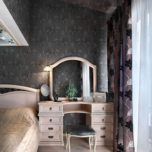 Bedroom - traditional master light wood floor bedroom idea in Yekaterinburg with black walls