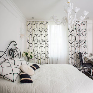 This is an example of a classic bedroom in Moscow with white walls.