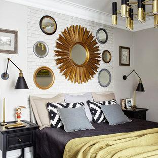 На фото: хозяйские спальни в стиле современная классика с серыми стенами, темным паркетным полом и коричневым полом
