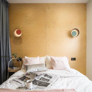 Идея дизайна: маленькая спальня в современном стиле с белыми стенами