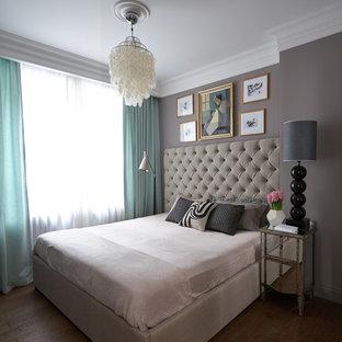 На фото: спальня в стиле современная классика с серыми стенами, паркетным полом среднего тона и коричневым полом