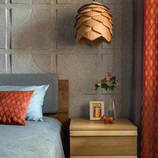 Идея дизайна: хозяйская спальня в современном стиле с серыми стенами, зеленым полом и ковровым покрытием