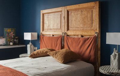 Houzz тур: Старые двери в изголовье кровати и множество арт-объектов