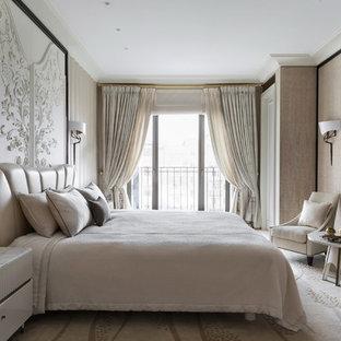 На фото: хозяйская спальня в стиле современная классика с бежевыми стенами, ковровым покрытием и бежевым полом