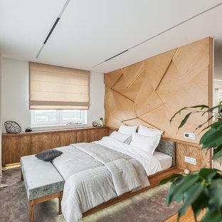 На фото: спальни в современном стиле с белыми стенами, ковровым покрытием и серым полом
