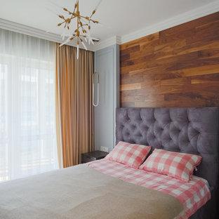 Источник вдохновения для домашнего уюта: спальня в современном стиле с деревянными стенами