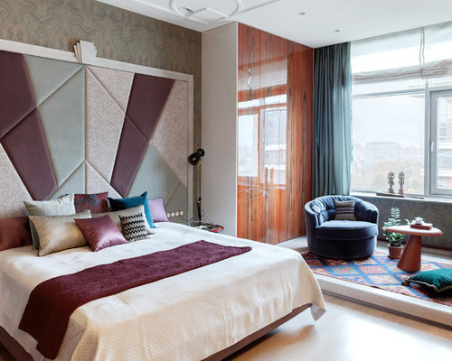 Inspiration For A Bohemian Master Bedroom In Moscow With Multi Coloured  Walls And Light Hardwood