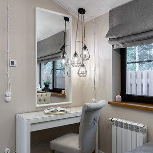 Bedroom - mid-sized contemporary master porcelain floor and brown floor bedroom idea in Saint Petersburg with gray walls