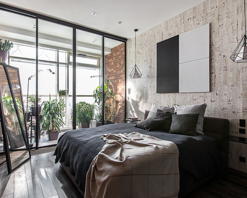 Example Of An Urban Master Dark Wood Floor Bedroom Design In Moscow With  Gray Walls