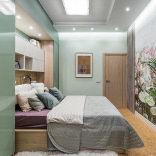 Modelo de dormitorio principal, actual, con suelo de corcho