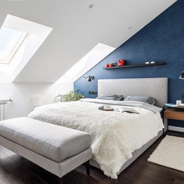 Мансардная двухуровневая квартира в скандинавском стиле