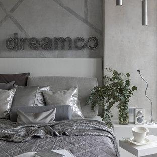 Свежая идея для дизайна: хозяйская спальня в современном стиле с серыми стенами - отличное фото интерьера