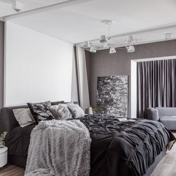 Монохромный интерьер в 2-х комнатной квартире