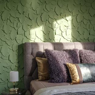 Idee per una camera matrimoniale contemporanea con pareti verdi