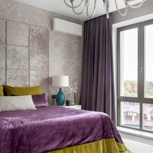 Contemporary master bedroom in Moscow with grey walls and carpet.