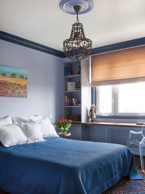 bedroom transitional master carpeted and multicolored floor bedroom idea in moscow with purple walls - Blue Bedroom Ideas