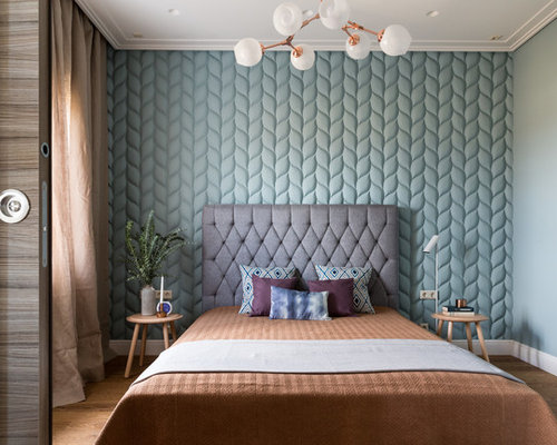 bedroom wallpaper design ideas. Trendy Master Medium Tone Wood Floor Bedroom Photo In Moscow With Blue Walls Wallpaper Design Ideas