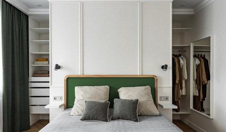 Просто фото: Спальня с гардеробной за изголовьем