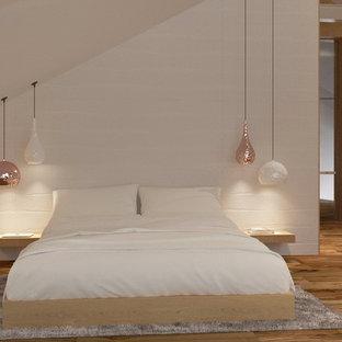 他の地域の大きいコンテンポラリースタイルのおしゃれな主寝室 (白い壁、無垢フローリング、横長型暖炉、漆喰の暖炉まわり、茶色い床) のレイアウト