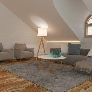 他の地域の広いコンテンポラリースタイルのおしゃれな主寝室 (白い壁、無垢フローリング、茶色い床、横長型暖炉、漆喰の暖炉まわり) のインテリア
