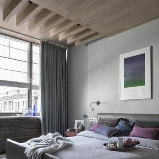 Идея дизайна: хозяйская спальня среднего размера в современном стиле с серыми стенами