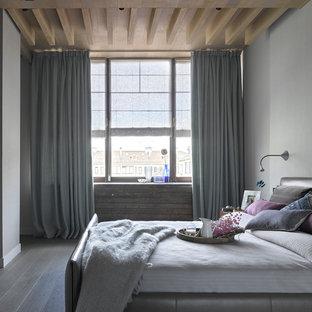 Свежая идея для дизайна: хозяйская спальня среднего размера в современном стиле с серыми стенами, паркетным полом среднего тона и серым полом - отличное фото интерьера