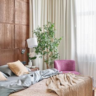 Неиссякаемый источник вдохновения для домашнего уюта: спальня в стиле современная классика с коричневыми стенами