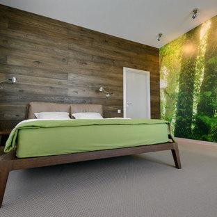 Свежая идея для дизайна: хозяйская спальня в современном стиле с разноцветными стенами и ковровым покрытием без камина - отличное фото интерьера