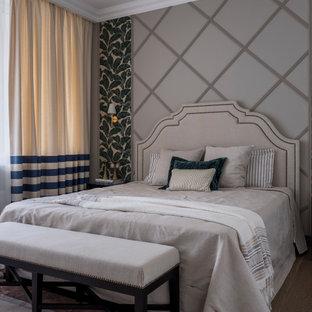 На фото: хозяйская спальня среднего размера в стиле неоклассика (современная классика) с бежевыми стенами, коричневым полом и темным паркетным полом с