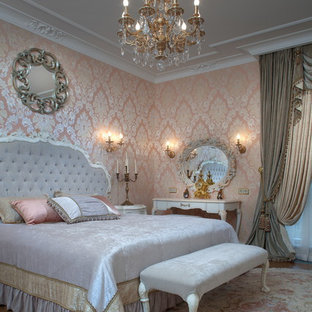 Ornate carpeted bedroom photo in Saint Petersburg with pink walls