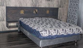 Теплая спальня в прохладном цвете.