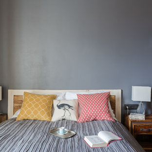 Example of a small eclectic loft-style laminate floor bedroom design in Saint Petersburg with gray walls and no fireplace