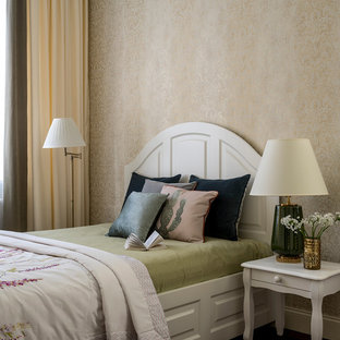 Inspiration for a mid-sized transitional guest medium tone wood floor and brown floor bedroom remodel in Moscow with beige walls