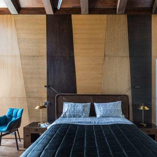 Неиссякаемый источник вдохновения для домашнего уюта: спальня в современном стиле с коричневыми стенами