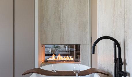 Houzz тур: Квартира с ванной в спальне и сквозным камином