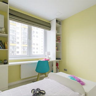 Example of a small trendy master cork floor and white floor bedroom design in Yekaterinburg with yellow walls and no fireplace